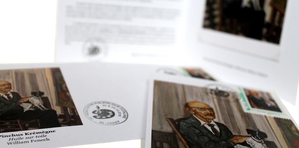 Enveloppe, carte et timbre en hommage à Pinchus Krémègne d'après une oeuvre de William Fenech