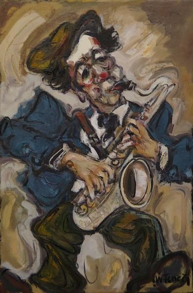 Le Clown Saxophoniste Huile Sur Toile 27x41