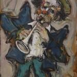 Le Clown Trompettiste Huile Sur Toile 41x27
