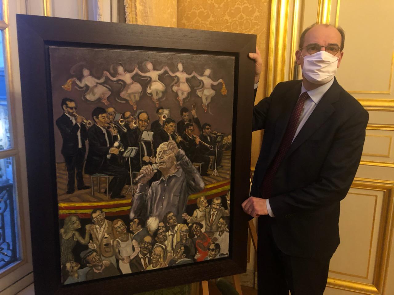 Le premier Ministre Jean Castex aux côtés de la toile de William Fenech