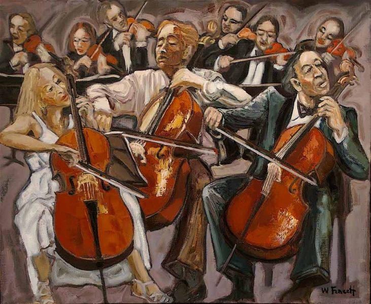 Les 3 violoncellistes HST 60x73