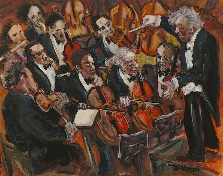 Orchestre Symphonique Huile sur Toile 50 x 61