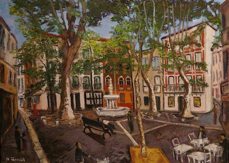 Place de la Fontaine des 9 Jets HST 54x73 - William Fenech