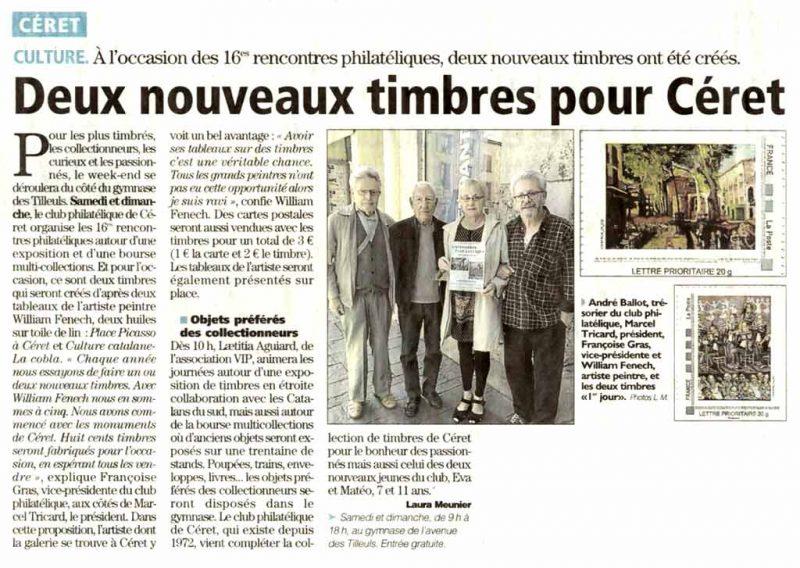 Article L'Indépendant - 30 octobre 2017- Deux nouveaux timbres pour Céret