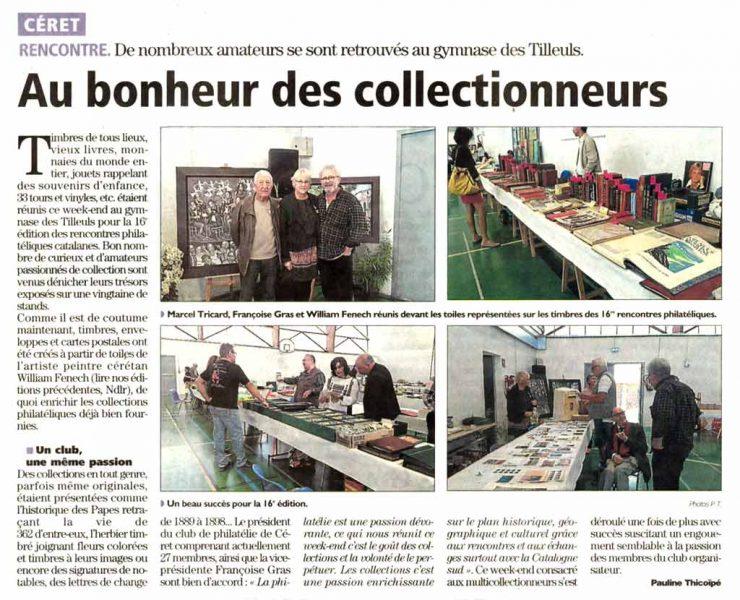 Article L'Indépendant - 30 octobre 2017- Au bonheur des collectionneurs