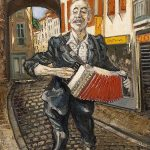 L'accordéoniste rue du commerce HST 73x60 - William Fenech