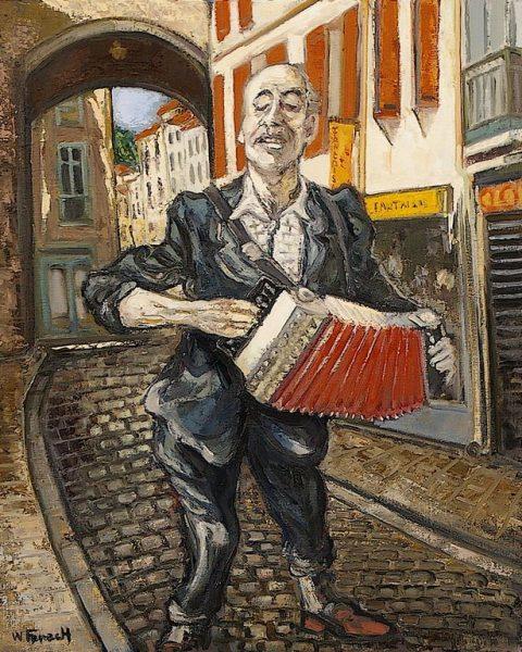 L'accordéoniste rue du commerce HST 73x60 - William Fenech